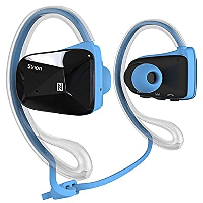 Bluetooth Headset Headphone With Earhook for Sports Running Gym Hiking Jogger, Stoon(TM) Wireless Bluetooth 4.0 Music Stereo Earbud With NFC&Dual Microphone, In-ear/ Ear-canal-fit Design Earphone for iPhone 6,6 Plus, 5S 5C 5 4S 4, iPod 5,Samsung Galaxy No