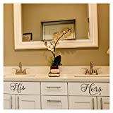 His and Hers vinyl lettering wall decal stickers (6''H x 9''L, 6''H x 11''L, Metallic Bronze)
