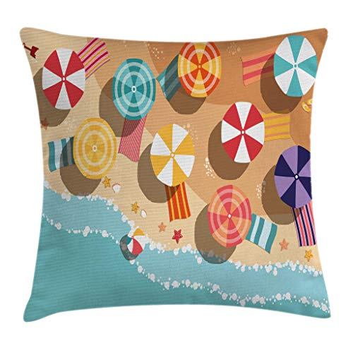 """Ambesonne Beach Throw Pillow Cushion Cover, Summertime Seacoast with Colorful Umbrellas Stars Flat Design Aerial View Vacation, Decorative Square Accent Pillow Case, 18"""" X 18"""", Dark Peach"""