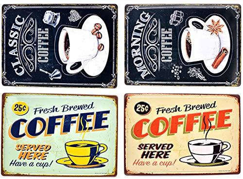 Quan Retro Embossed Metal Tin Signs Bar Pub Home Decorative Plates Coffee Wall Sticker Advertising Iron Painting 3020cm 4pcs