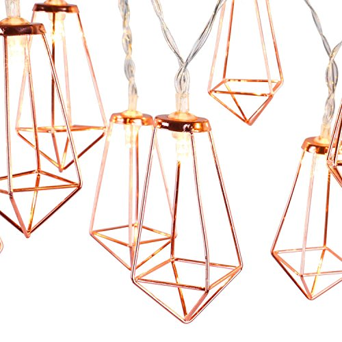 Lewondr String Lights Geometric Rose Gold Diamond LED Metal Fairy Lights 3m/9.8ft 20 LED USB & Battery Powered Twinkle Lights for Bedroom Wedding Christmas Home Decoration - Warm White