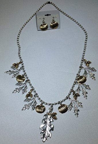 Silver Autumn Delight Charm Necklace and Earrings