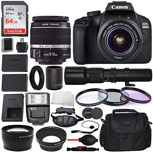 Canon EOS 4000D DSLR Camera with EF-S 18-55mm f/3.5-5.6 III, and Starter Accessory Bundle – Includes: Spare Battery Bundle – Digital Slave Flash and More