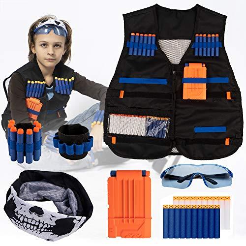 Tactical Vest Kit for Nerf Guns N-Strike Elite Series - Nerf Gun Accessories - Nerf Gun Vest for Boys - Nerf Jacket - Nerf Bullet Vest Tactical Kids - Nerf Gun Sets with nerf gear and dart holder
