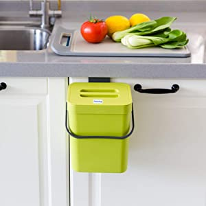 Jesintop Small Compost Bin with Lid Green Plastic Waste Basket 5 L/ 1.3 Gallons Mountable Compost Bucket Hanging Waste Bin for Office,Dog Poop Waste Compost Bin for Kitchen Trash Can for Bedroom