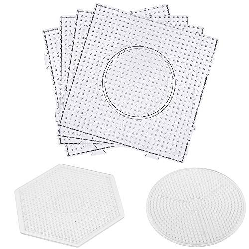 H&W 6PCS 5mm Fuse Beads Boards, 4 Square Board + 1 Circle Board + 1 Rhomb Board + 2 Forceps + 4 Lroning Paper, Large Clear Pegboards Kits (WA3-Z5)