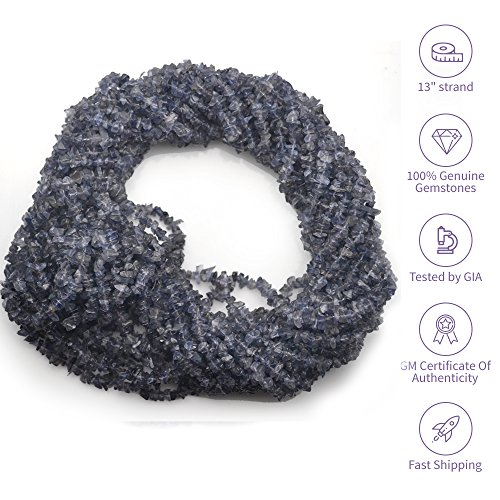 Iolite Gemstone (1 Strand (34inches) of Real Natural Iolite Gemstone Chips Beads. wholesale price. Prepared exclusively by GemMartUSA.)
