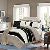 Sweet Home Collection 6 Piece Down Alternative Decorative Fashion Comforter Set,Taupe,Queen