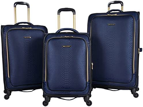 Aimee Kestenberg Women s Parker Jacquard Polyester Expandable 4-Wheel 3-Piece Luggage Set 20 Carry-on, 24 , 28 , Navy