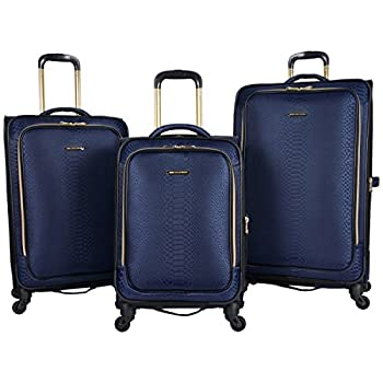 "Image of Aimee Kestenberg Women's Parker Jacquard Polyester Expandable 4-Wheel 3-Piece Luggage Set; 20"" Carry-on, 24"", 28"" , Navy Luggage"