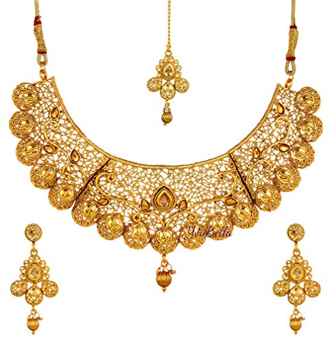 YouBella Jewellery Bollywood Ethnic Gold Plated Traditional Indian Necklace Set with Earrings for Women (Indian Gold)