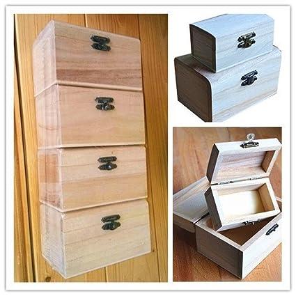Juego de 4 cajas de madera para decoración