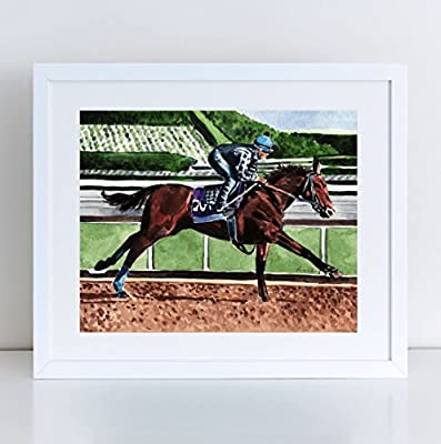 American Pharoah Triple Crown Thoroughbred Giclee Print of Watercolor Painting 8 x 10, 11 x 14 inches Fine Art Poster Kentucky Derby Horse Racing