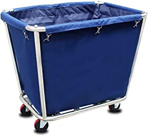 Dr. Heavy-Duty Laundry Hamper with Wheels Commercial Laundry Cart with Steel Frame & Canvas, Linen Cart Laundry Hamper with Casters, Simple Houseware Laundry Storage Cart (Color : Blue)