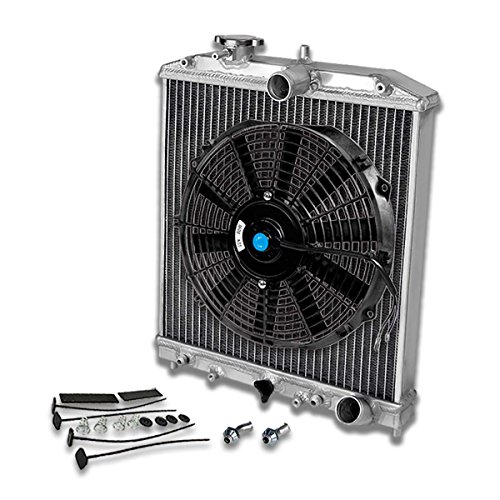 For Civic/Del Sol/Integra 2-Row Dual Core 42mm Racing Radiator+12 inches Black Fan+Mounting Kit