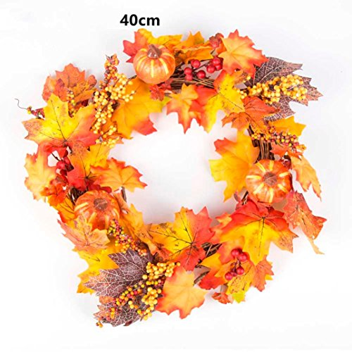 Gotd 40cm Pumpkin Berry Maple Leaf Fall Door Wreath Door Wall Ornament Thanksgiving Day Xmas Christmas Tree Decrations (Orange) (Spring Door Wreaths Sale)