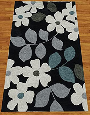 Homemusthaves Black White Grey Blue Green New Modern Contemporary Floral Pattern 3D Polyester Wool Area Rug Carpet