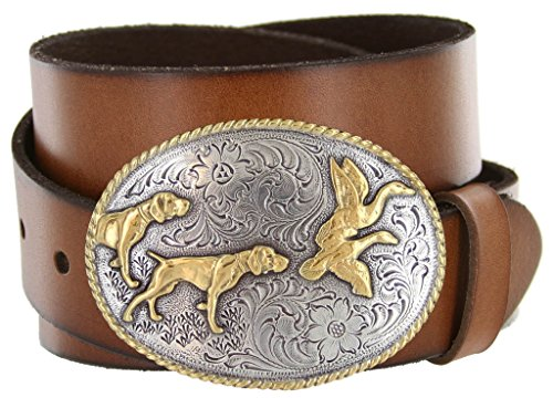 Outdoorsman Hunting Dogs & Birds Full Grain Leather Belt (Tan, 40)