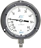"""WIKA 9833760 Process Pressure Gauge, Liquid-Filled, Stainless Steel 316L Wetted Parts, 4-1/2"""" Dial, 30""""Hg-0-60 psi Range, +/- 0.5% Accuracy, 1/4"""" Male NPT Connection, Bottom Mount"""