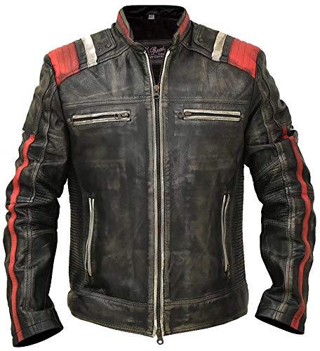 (Mens Cafe Racer Vintage Retro Motorcycle Distressed Biker Real Leather Jacket (XX-Large) Black )