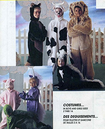 (McCall's Costume Pattern 7849 child cow, lion turtle, pig, racoon, skunk,unicorn size)