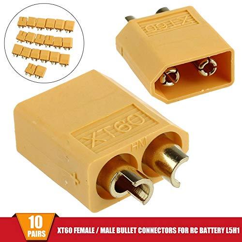 10 Pairs XT60 Female + Male Bullet Connectors Plugs for RC Lipo Battery 20pcs Wholesale (Batteries Lipo Wholesale)