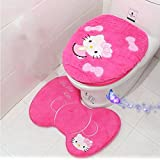 Ikeelife Cute Hello Kitty Bathroom Pedestal Mat Cotton Non Slip Bath Mat Toilet Contour Rug, Closestool Lid Cover,Seat Cushion,3PCS Set Rosy Ste3