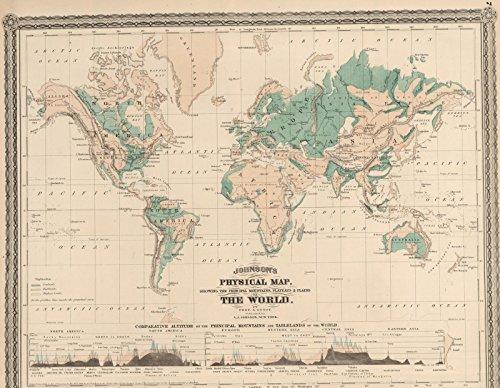 ohnson's Physical Map. | Historic Antique Vintage Reprint ()