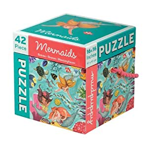 """Mudpuppy 42-Piece Mermaids Puzzle – Whimsical Artwork Includes Mermaids & Colorful Fish – Finished Puzzle Size of 16""""x16"""""""