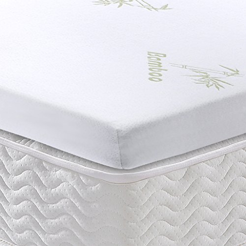 Langria 2 Inch Memory Foam Mattress Topper With Removable