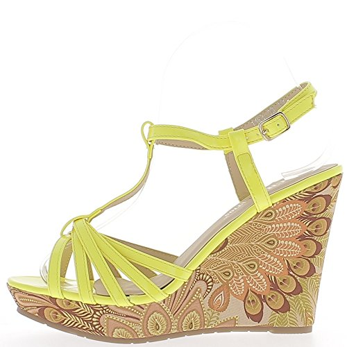 Sandales compensées jaunes vernies à talon multicolore de 11 cm avec fines brides