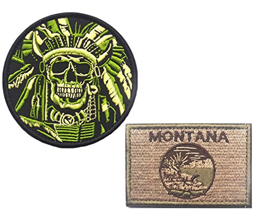 Embroidery Indian Features and MONTANA State Flag Velcro Pat