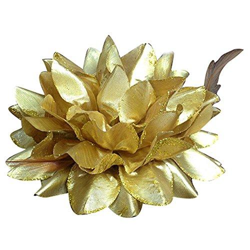Bluelans Bridal Wedding Party Flower Headband Elastic Pin Hair Wrist Band Corsage Decor - Gold Flower Pin Brooch
