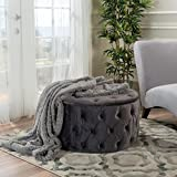 Provence Dark Grey Tufted New Velvet Round Ottoman