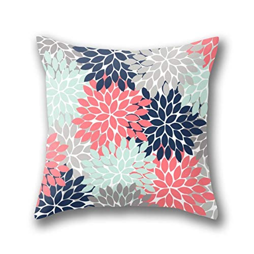 NBTJZT Flower Burst Petals Floral Pattern Navy Coral Mint Gray Pillow Cover Standard Throw Pillowcase 18X18 Inch