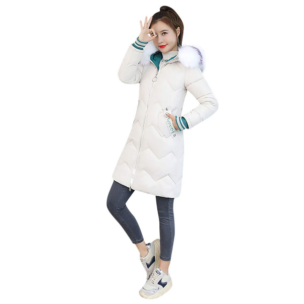 ✔ Hypothesis_X ☎ Women's Winter Warm Cotton Padded Long Coat Outerwear Jackets Pocket Faux Fur Hooded Coats Beige by ✔ Hypothesis_X ☎ Top