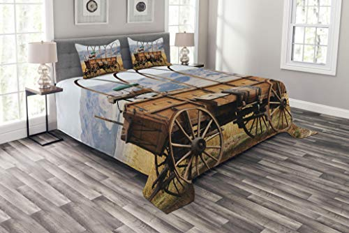 Ambesonne Western Bedspread, Photo of Old Nostalgic Wild West American Cart Carriage in The Farm Texas Style, Decorative Quilted 3 Piece Coverlet Set with 2 Pillow Shams, King Size, Brown - West American Bed