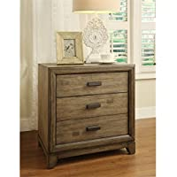 Furniture of America Muttex 3 Drawer Nightstand in Natural Ash