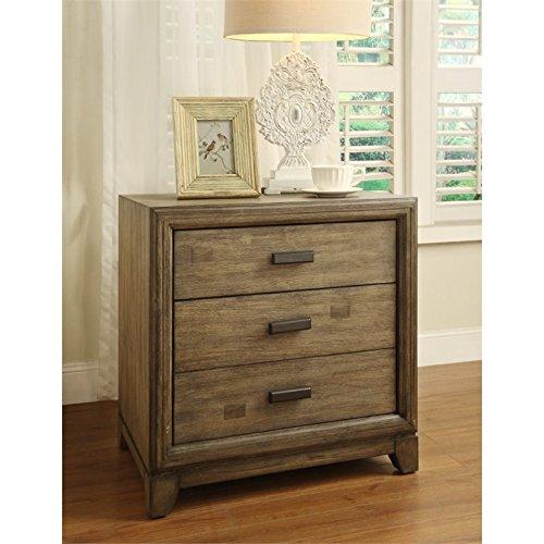 Bedroom Ash Nightstand (Furniture of America Muttex 3 Drawer Nightstand in Natural Ash)