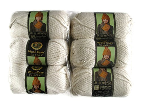 Lion Brand Yarn Wool-Ease Thick and Quick Yarn, (6-Pack), Fisherman 640-099 by Lion Brand