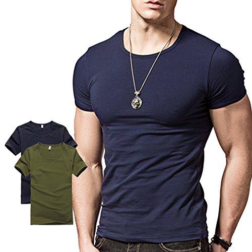 Wiekose Hyuling 2 Pack Mens Short Sleeves T-Shirt Crew-Neck (L, GRBL)