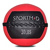 Sportmad Medicine Ball Soft Wall Ball Weight Ball for CrossFit Exercises Strength Training Cardio Workouts Muscle Building Balance,Red,30 LBS