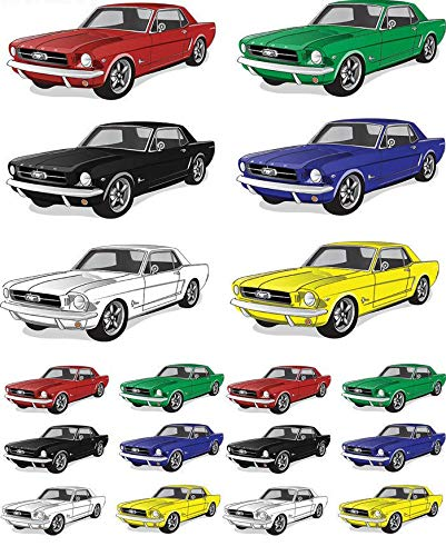Mustang Cars - 964073381 - Ceramic Decal - Enamel Decal - Glass Decal - Waterslide Decal - 3 Different Size Sheet (Images) to Choose from. Choose Either Ceramic (Enamel) or Glass Fusing Decals XpressionDecals