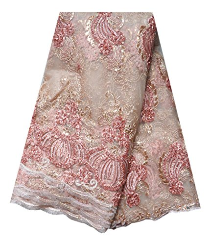 SanVera17 African Lace Net Fabrics Nigerian French Fabric Embroidered and Beading Guipure Cord Lace for Party Wedding 5 Yards us-fabric-081 (pink) by SanVera17