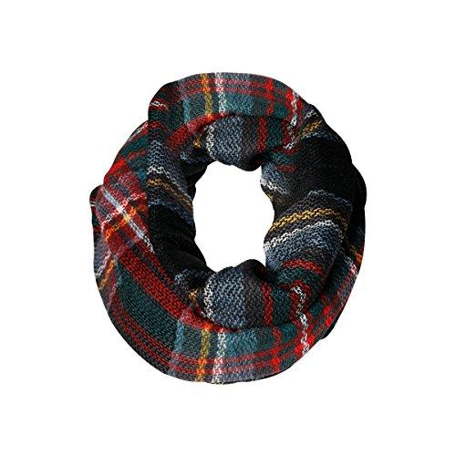 Black Mutli Plaid Tartan Infinity Scarf Funky Monkey Fashion Warm Cozy Scarves