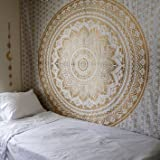 Popular Handicrafts Th553 original Gold Ombre Tapestry Indian Mandala Wall Art, Hippie Wall Hanging, Bohemian Bedspread With Metallic Shine 84''x90''