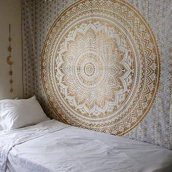 "Popular Handicrafts Th553 original Gold Ombre Tapestry Indian Mandala Wall Art, Hippie Wall Hanging, Bohemian Bedspread With Metallic Shine 84""x90"""