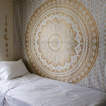 Popular Handicrafts Th553 original Gold Ombre Tapestry Indian Mandala Wall Art, Hippie Wall Hanging, Bohemian Bedspread With Metallic Shine 84