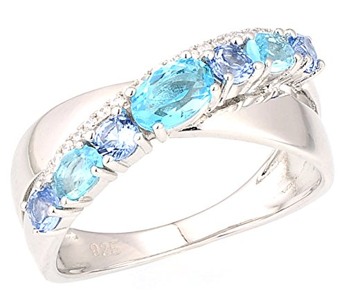 Chariot Trading - Silver Rings for Woman Blue Spinel (SIZE : 6.5) (Belly Dance Costumes Clearance)