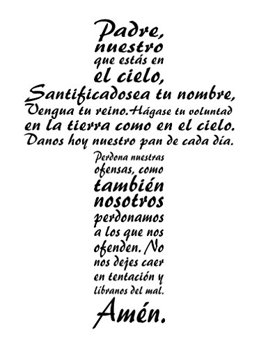 This Inspirational Christian Wall Decal is a Vinyl Wall Decal Displaying The Lord's Prayer in the form of a Cross as an inspiring wall decal. Spanish -